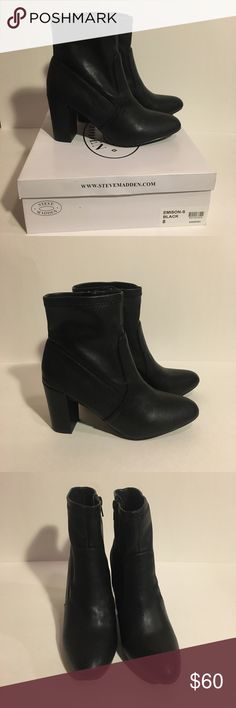 NWT Steve Madden Emison-S Black Leather Boots New with tags  Black  Zip up boots Steve Madden Shoes Ankle Boots & Booties