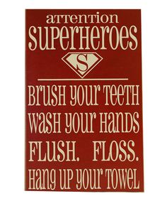 Red & Cream 'Superheroes' Bathroom Wall --Theilen Boy's bathroom