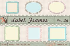 Retro Label Frames Vectors Set No 26 Graphics Scalloped Kitschy Frame Borders Kit - Brushes, Vectors, Digital Clipart & Custom ShapesWith th by starsunflowerstudio Photoshop Shapes, Sketch Photoshop, Photoshop Photos, Photoshop Brushes, Photoshop Illustrator, Business Brochure, Business Card Logo, Clipart, Graphic Design Programs