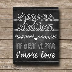 Smores Bar Sign | S'mores Station | Smore Love | S'more Chalkboard Rustic Wedding Sign | Smore Favor Sign | Digital File Instant Download