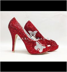 My latest RED!  MDNY Signature RED Crystal shoes RAINBOW crystal Butterfly by MDNY, $209.00