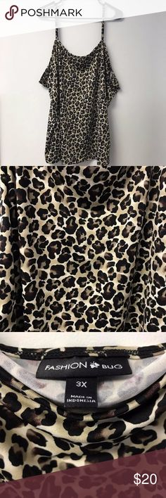 Plus Size Leopard Print Camisole Tank Top 3X Fashion Bug Leopard Print Camisole Tank Top Size 3X Excellent condition with no signs of wear, tear, or stains. All items come from smoke free and pet free home. Fashion Bug Tops Camisoles