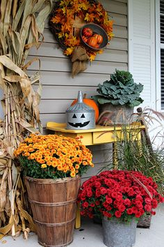 A super cute repurposed Jack-o-Lantern for Halloween made from a galvanized funnel. A quick and easy DIY project for fall! Halloween Porch, Holidays Halloween, Vintage Halloween, Halloween Crafts, Spooky Halloween, Halloween Pumpkins, Diy Projects For Fall, Fall Crafts, Thanksgiving Decorations