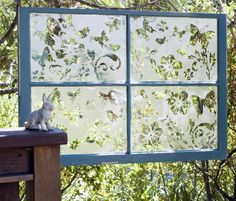 "Etched Picture Window Tutorial, (link doesn't go directly to tutorial... go to: ""Craft How-To's > Garden Crafts > The Butterfly Effect"")"