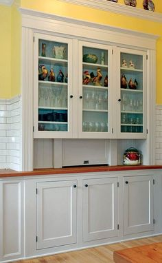 The original kitchen buffet was restored. Its pass-through to the dining room (at center) is still functional.