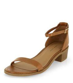 Tan Ankle Strap Low Block Heel Sandals
