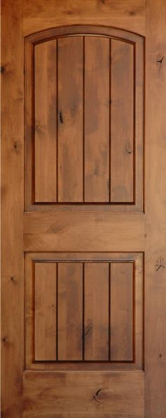 Knotty Alder | Knotty Alder Arch 2-Panel Doors with V-Grooves | Homestead Doors
