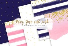 Navy Blue & Pink Gold paper by My Lovely Sister on @creativemarket