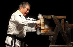 """First Grandmaster Rhee-Ki-Ha brick break punch. The 75-year-old 9th degree black belt is a first generation student of Taekwon-Do founder General Choi Hong Hi; He was also the First Master to be promoted to 9th Dan by General Choi Hong Hi; the man who introduced TKD to Europe and the UK in 1967; the man described by General Choi Hong Hi as the """"greatest ever student of Taekwon-Do."""""""