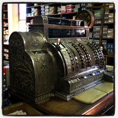 Vintage cash register - photo by moi!   /// has Dovetail design, 1st I've seen on different model.
