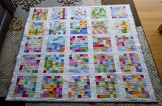 Kindergarten auction pixel quilt.  Each table had rainbow of 2x2 squares, cool modern feel.  Maybe combine with technique of fusing to interfacing and sewing from there.  That could be a cool send home project.