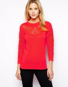 Ted Baker 'Talula Embroidered Knitted Jumper' in Bright Pink - $122.00