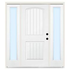 Steves & Sons Premium 2-Panel Plank Primed White Steel Left-Hand Entry Door with 10 in. Clear Glass Sidelites and 4 in. Wall-ST22-PR-S10CL-4LH at The Home Depot