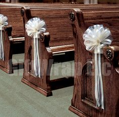 6 Large Ivory Tulle Pull Bows Wedding Pew Decorations Church Chair Aisle Reception Decor on Etsy, $29.50