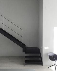 minimal stairs . black steel