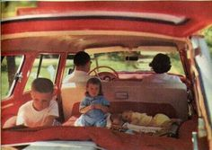 Remember the station-wagons with the seats in back facing backward? We had one of these at one time. Growing up with five kids we always had a station-wagon and every summer the family piled in and went on a road trip somewhere for summer vacation. My Childhood Memories, Sweet Memories, Midcentury Modern, Photo Vintage, Vintage Photos, Baby Boomer, I Remember When, Thats The Way, Station Wagon