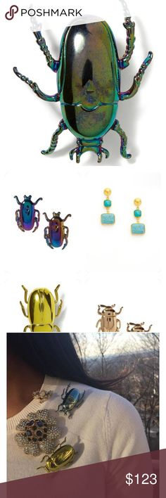 ISO Banana Republic beetle collection 👀 looking for this beetle brooch from Banana Republic !!! Prefer green but will consider gold. OR Beetle earrings ! NEED !!!Xox Banana Republic Accessories