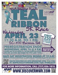 Sexual Assault Awareness Month Run, April Click through to register. Naval Station Norfolk, Navy Ribbon, Hampton Roads, The Hamptons