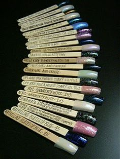 Need to get swatches of your nail polish? Get some fake nails and popsicle sticks!
