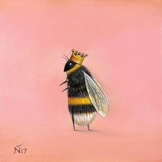 I am a self taught artist and I've always loved to sketch and paint. All of my creations are unique and are conjured up from my, at times, odd and peculiar imagination. I enjoy working on both figurative and wildlife/nature paintings and sketches. Bee Drawing, Bee Painting, Illustration Art, Illustrations, Bumble Bee Illustration, I Love Bees, Bee Art, Pink Art, Bees Knees