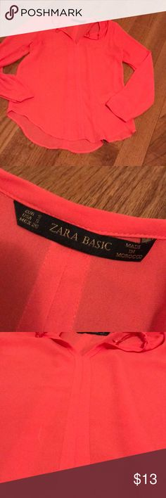 Zara basic blouse Semi sheer. Nice bright color. Great fit and good used condition. Zara Tops Blouses