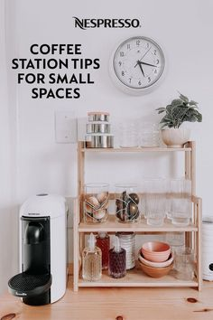 You don't need a lot of kitchen space to design a fun and functional coffee nook. A freestanding shelf offers plenty of storage space, while displaying all your favorite coffee bar essentials. Transfer add-ins, like syrups, into shorter bottles to help them fit on your shelves. And keep your go-to Nespresso capsules handy by storing them in glass jars. You can even upcycle old vases. Photo by: evamaeshrock on Instagram. Bar Cart, Nespresso, Furniture, Home Decor, Decoration Home, Room Decor, Home Furnishings, Home Interior Design, Home Decoration