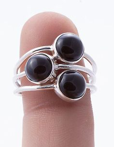925 Sterling Silver Black Onyx Ring MCR-4055 from Edelsteinschmuck by DaWanda.com