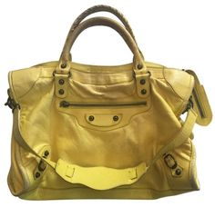 AUTHENTIC BALENCIAGA YELLOW ARENA GIANT MOTORCYCLE CROSS BODY BAG   www.fullcirclefashion.com #BALENCIAGA #TotesShoppers