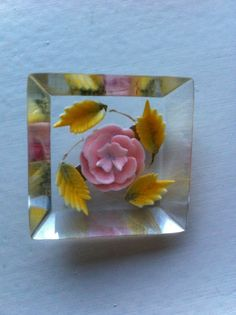 Vintage Square Reverse Carved Lucite brooch with rose