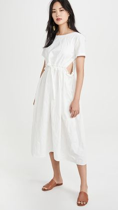 trimmed in Blue satin Off-White Linen Blend Dress with Lower back