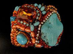 Turquoise & Mandarin Orange CuffNative American by SharonaNissan, $500.00