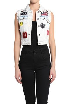 TheMogan Ripped American Flag Patched Denim Vest