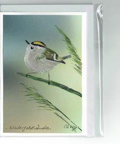 Grüße - Grußkarte -  Wintergoldhähnchen, handgemalt - ein Designerstück von Vogelmalerin bei DaWanda