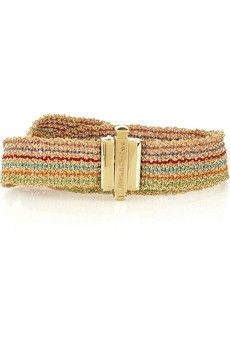 18-karat gold chain bracelet with multicolored silk thread detailing. Carolina Bucci bracelet wraps twice around the wrist, has a designer-stamped clasp to fasten and comes in a designer-stamped blue box. Designer Color: Rainbow