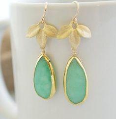 Bezel Set Chrysoprase Earrings Chrysoprase Earrings by Jewels2Luv