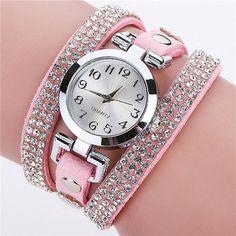 Luxury Watch Women Crystal Rhinestone Leather Bracelet Wristwatches Casual