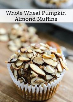 Start your morning off right—with this recipe for Whole Wheat Toasted Almond Pumpkin Muffins. The crunchy nut topping pairs perfectly with this light and sweet center. Cupcake Recipes, Baking Recipes, Almond Recipes, Muffin Recipes, Almond Muffins, Toasted Almonds, Sweet Recipes, Sweet Desserts, Sweet Tooth