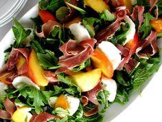peach prosciutto and mozarella salad