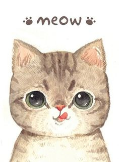 Cute drawing of cat with tongue stuck out.