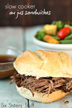 Slow Cooker Au Jus Sandwiches on SixSistersStuff.com - an easy recipe that can be thrown together in seconds! Au Jus, Hamburger, Slow Cooker Recipes, Easy Meals, Sandwiches, Beef, Canning, Ethnic Recipes, Food