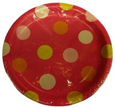 """Custom & Unique {7"""" Inch} 8 Count Multi-Pack Set of Medium Size Round Circle Disposable Paper Plates w/Spotted Polka Dots Girly Happy Birthday Party """"Pink Yellow & Orange Colored"""""""