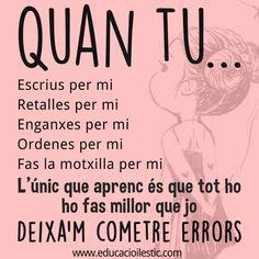"""Dels errors també n'aprenem - """"De los errores también aprendemos"""" New Quotes, Quotes For Him, Faith Quotes, True Quotes, Bible Quotes, Funny Quotes, Inspirational Quotes, French Quotes, Super Quotes"""