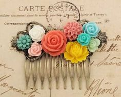 Coral Bridal Comb Bride Headpiece with Flowers Bright Colorful Aqua Yellow Turquoise Mint Green Peach Pink Garden Wedding Floral Hair Comb