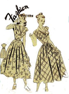 1940s Vintage Sewing Pattern Dress with by allthepreciousthings, $22.00