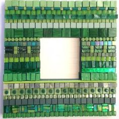 KIT - Rimini Mirror Green - A study in the ancient Italian art of ton sur ton mosaic. This mirror is an excellent introduction in mixing materials and in layering of colour and texture. Some cutting is required but in general this kit is within the reach of beginners although it requires using wheeled nippers. #mosaic