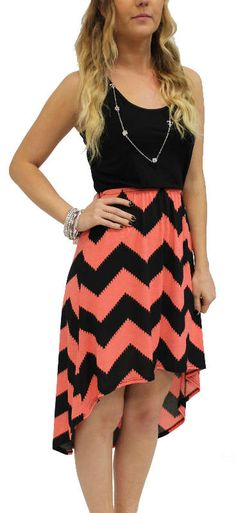 chevron coral print hi low dress black on top half coral and black on bottom