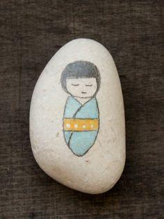 Japanese Kokeshi doll  beach stone  rocks art meditation stones Mediterranean painted pebbles