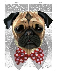 Pug Dog with Bow Tie Acrylic Art Original Painting Print Mixed Media wall art wall decor Wall Hanging