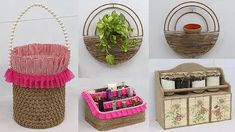 Jute Crafts, Elements Of Design, The Creator, Organization, Craft Ideas, Space, Youtube, Decor, Makeup Holder