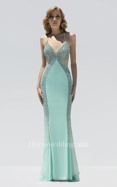 #Dorris Wedding - #Dorris Wedding Sheath Floor-Length Spaghetti Sleeveless Jersey Beading Backless Dress - AdoreWe.com